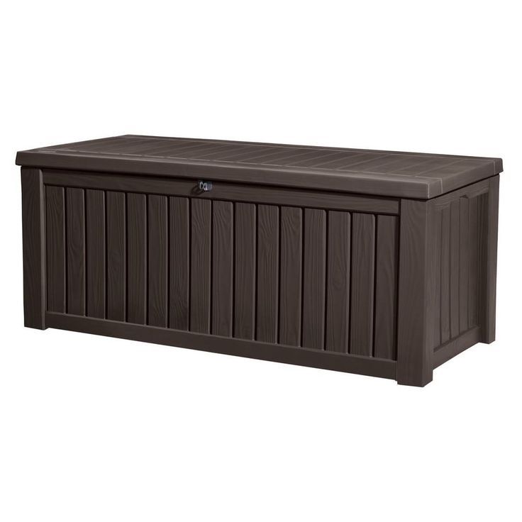 Keter Rockwood Plastic Deck Storage 150 gal. Brown Patio Container Bench Box #Keter