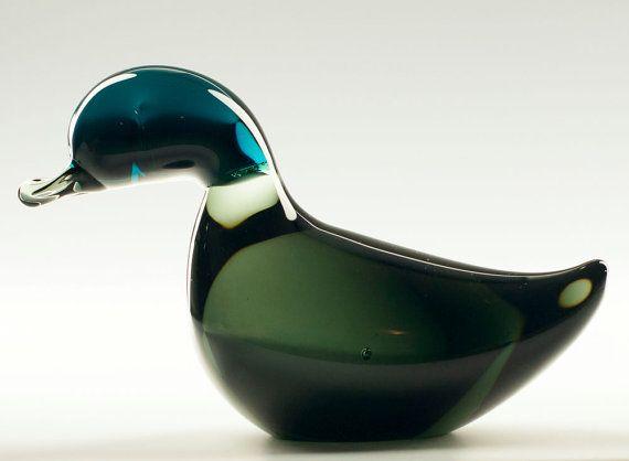 1964 Signed Jaakko Niemi for Nuutajärvi Notsjö Art Glass Mallard Duck Sculpture