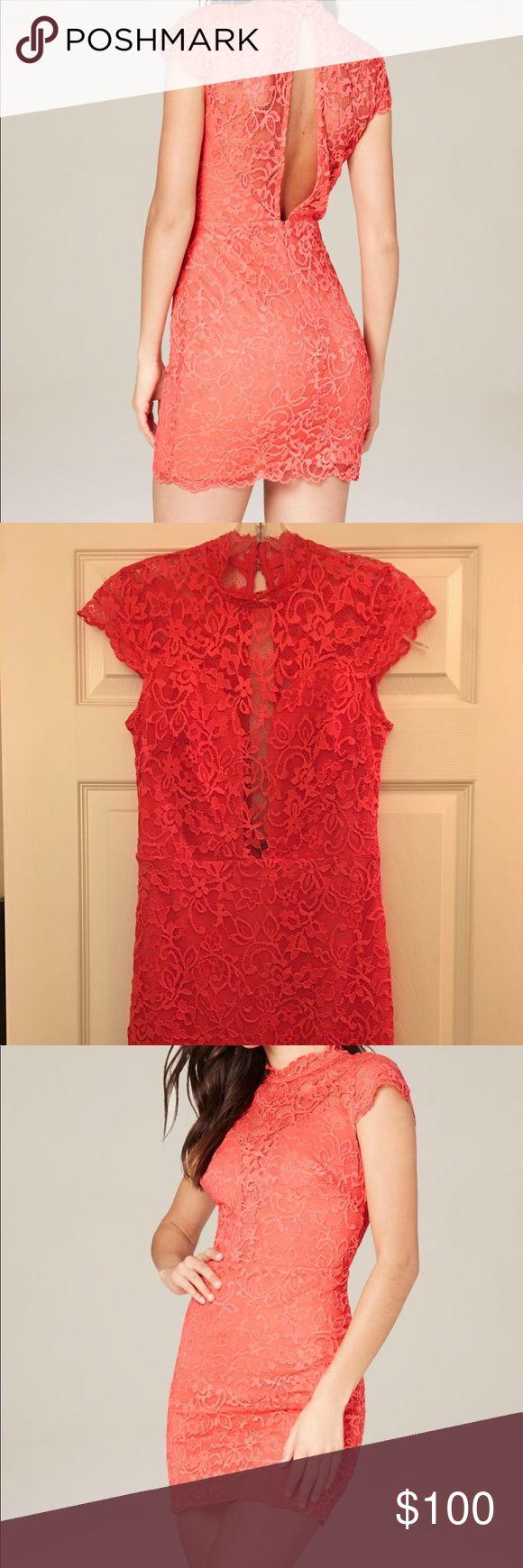 BEBE GWEN LACE MOCK NECK DRESS New coral lace dress bebe Dresses Mini