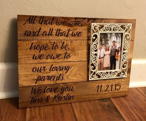 Wedding Gift For Parents Wood Frame Wedding Gift Father Of The Bride Mother O Personalised Wedding Presents Wedding Gifts For Parents Father Of The Bride
