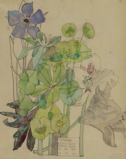 Charles Rennie Mackintosh Spurge, Withyham 1909 - the transparency of the watercolor is wonderful.