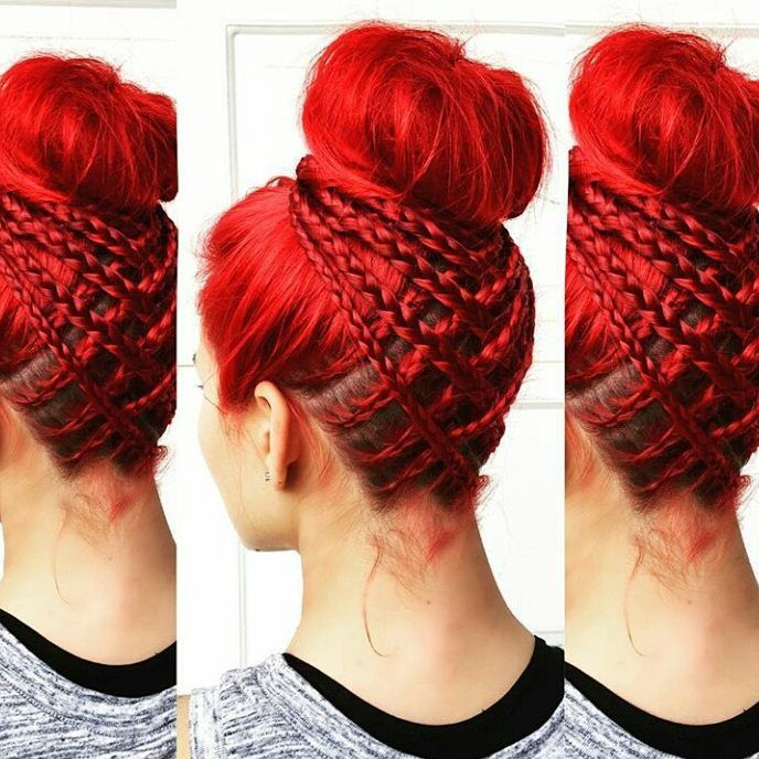 Beauty red and awesome hair style too