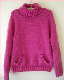 Knitting pattern for a ladies, plus size, 12ply polo neck sweater with pocket.