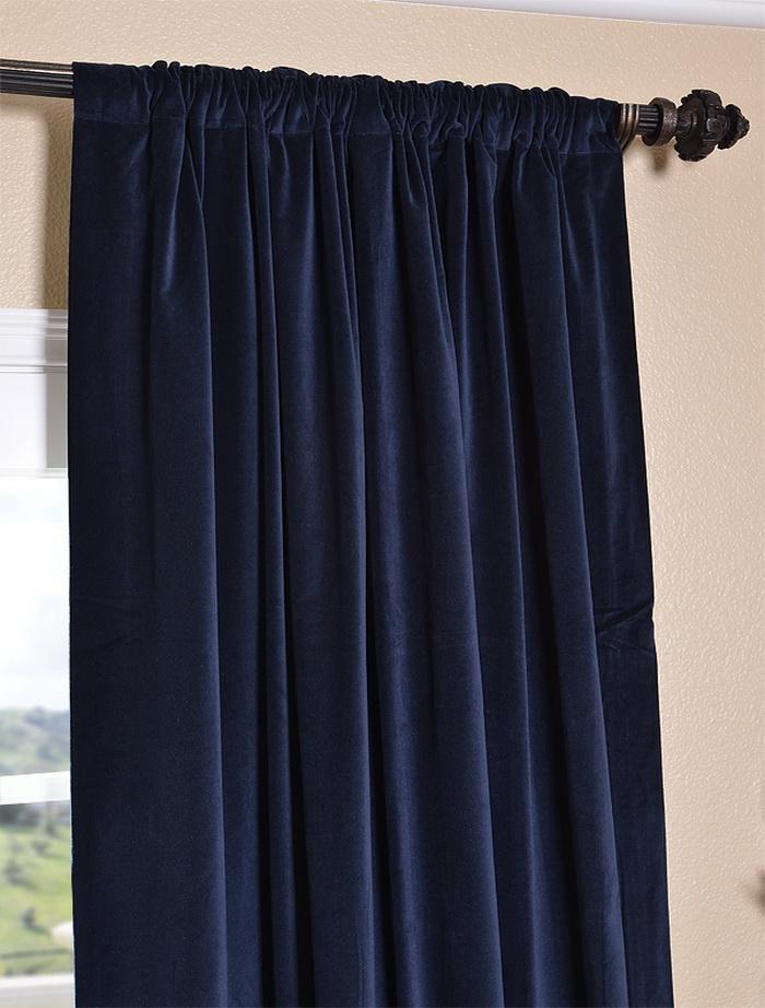 navy velvet curtains - Velvet Curtain