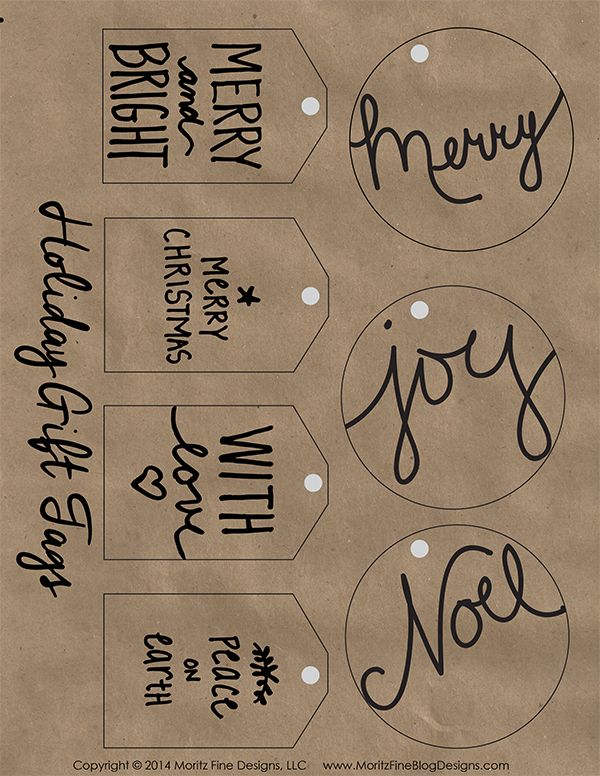 Free printable holiday gift tags on kraft paper. Easy to print out and add to your Christmas packages. Makes your wrapping look great!
