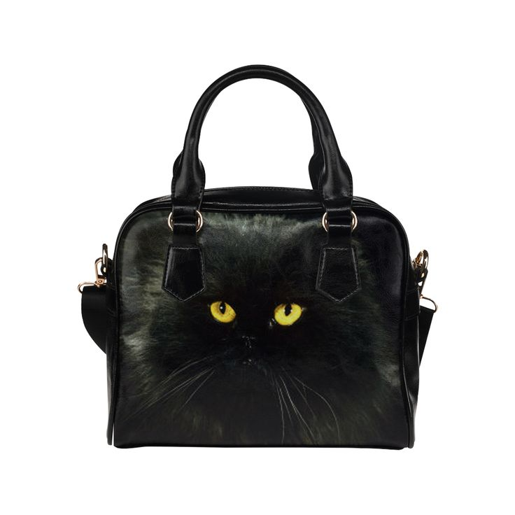 Black Cat Shoulder Handbag (Model 1634)