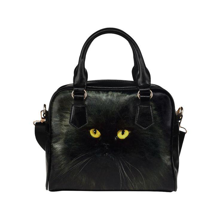 Black Cat Shoulder Handbag (Model 1634)