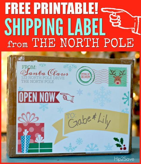 FREE Printable Shipping Label from Santa Claus Christmas