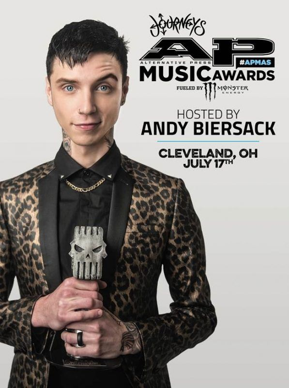 """Andy Biersack Announced as Host of the 2017 ALTERNATIVE PRESS MUSIC AWARDS – The 4th Annual JOURNEYS ALTERNATIVE PRESS MUSIC AWARDS, FUELED BY MONSTER ENERGY Announce Black Veil Brides Frontman, Solo Alt-Pop Artist and Counterculture Superstar ANDY BIERSACK as Host July 17, 2017 
