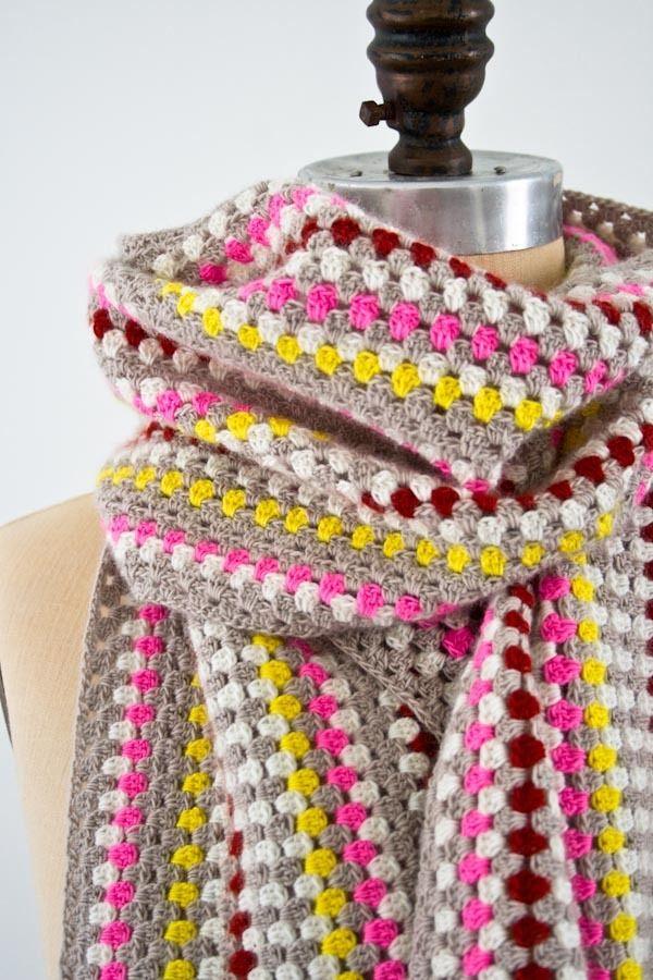 Granny Stripe Crochet Scarf