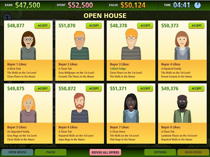 """This is an image from the PC game """"House Flip."""" In this game buy, fix, and sell houses for the highest price."""
