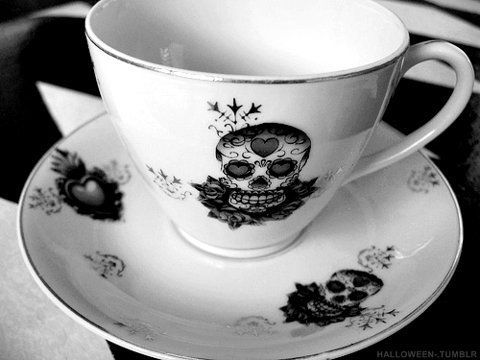 Day of the Dead china tea cups: Bones China, Skulls, Teas Time, China Patterns, Teas Cups, Sugar Skull, Teas Sets, Teacups, Teas Parties