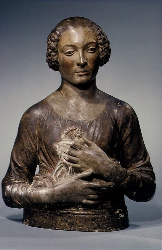 Andrea del Verrochio (Italian, Florence,  1435-1488 Venice) Lady Holding a Bunch of Flowers to her Breast ca. probably late 15th century. plaster and stucco, polychromed and gilt.