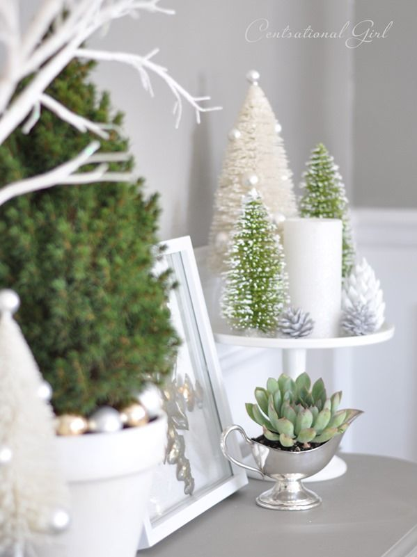 Holiday sideboard with succulent and bottle brush trees in warm gray and white