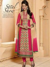 Buy Pretty Girlish Pink Semi Stitched Salwar Suit With Beautiful Zari Work