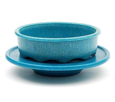 Blauw graniver fruittest op onderschotel ontwerp A.D.Copier 1929 uitvoering Glasfabriek Leerdam
