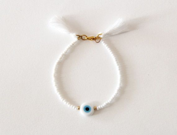 WHITE Evil Eye Bracelet Bridesmaid Gift by NataliesWunderland