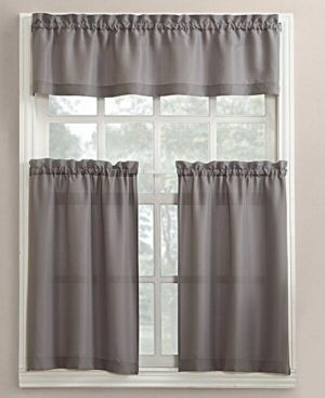Lichtenberg No. 918 Martine 3-Pc. Microfiber Rod Pocket Kitchen Curtain Set - Gray