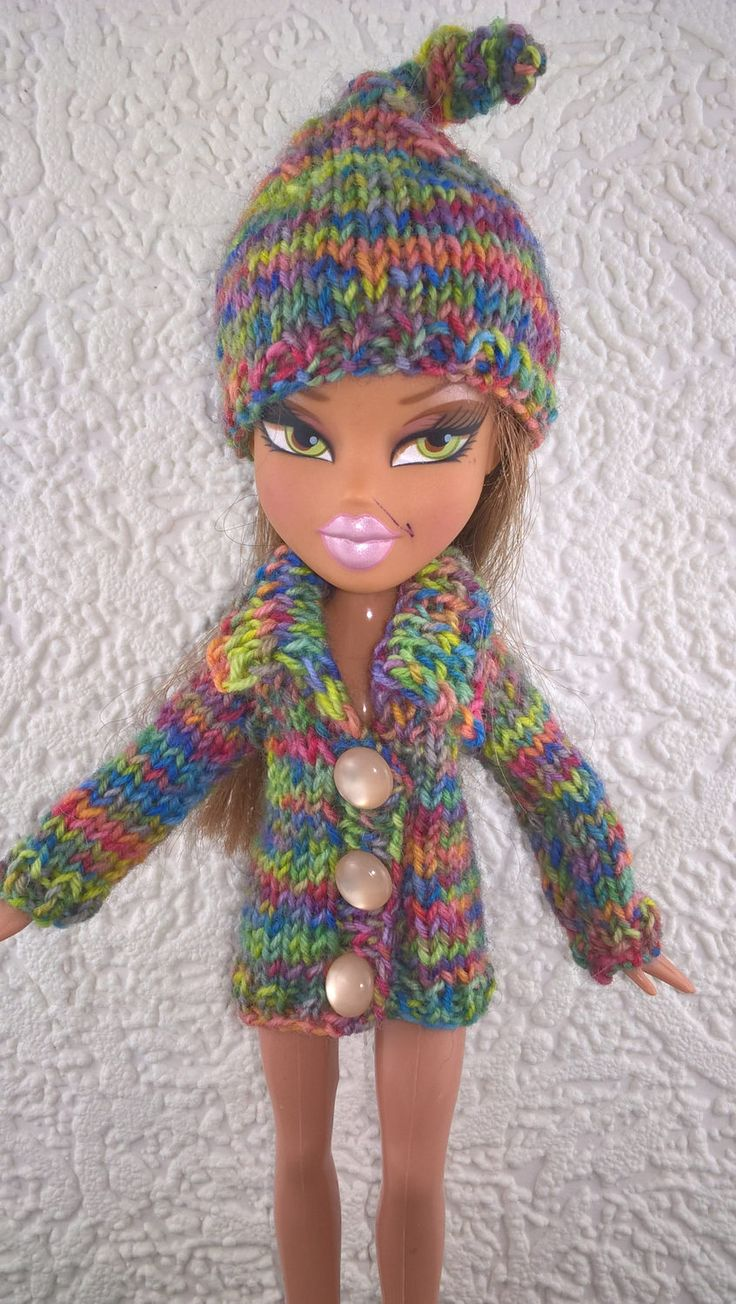 Multi coloured hat and coat for Bratz doll. Hat and sweater for 10inch fashion doll. Hand knit OOAK doll clothes. Rainbow colour doll coat. by Nobodyknitsitbetter on Etsy