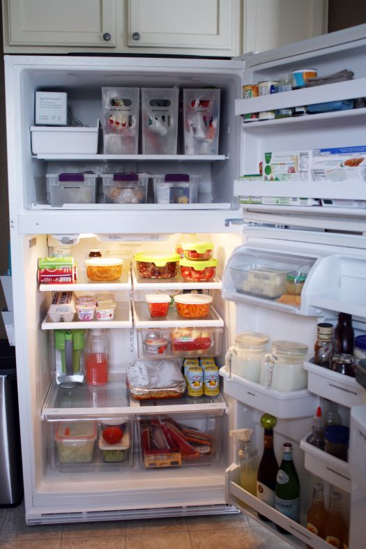 Organized fridge, and whole post on how to organize your entire kitchen.