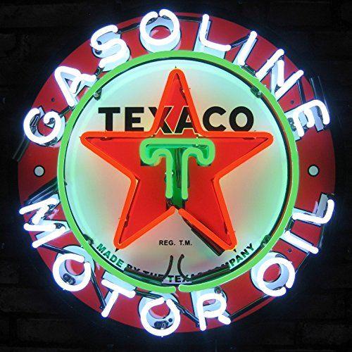 "24/""X24/"" TEXACO GAS GASOLINE MOTOR OIL PUMP REAL GLASS NEON SIGN Beer Bar LIGHT"