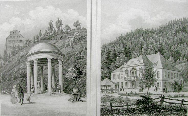 POPPEL Johann Fridrich (1807-1882): Karlovy Vary.  Teresiin pramen a Sál přátelství.