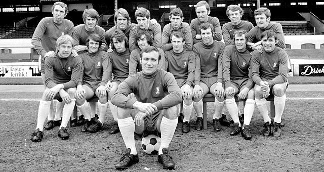The Chelsea Team of 1970, featuring Peter Osgood, Ron Harris, Peter Bonetti, Charlie Cooke and Ray Wilkins. A team that won the 1970 FA Cup vs Leeds.