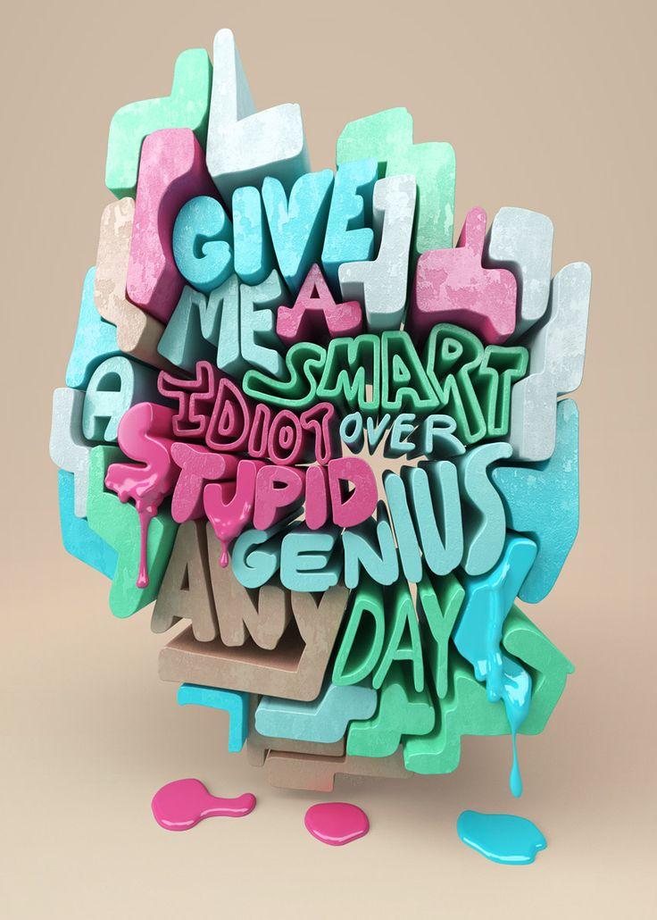 Les typographies 3D au service du style génial de Christopher Labrooy | Design…