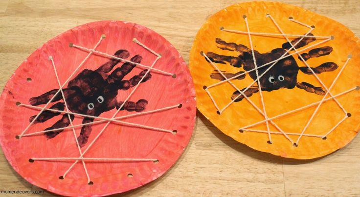 Eloorka facepaiting and crafting: Tvoření s dětmi- Pavouci z obtisku ruky na papírov...