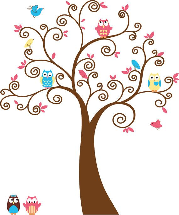 Cute Kids tree with 5 owls and birds vinyl wall by wallinspired, $79.00