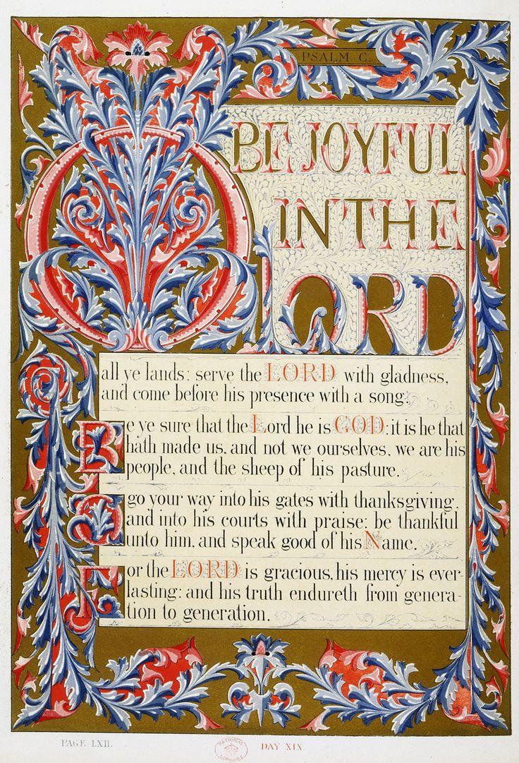 Owen Jones, 'Illumination for The Psalms of David (The Victoria Psalter)'   V&A  1861. National Art Library Pressmark L.168-1886