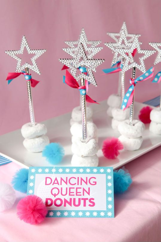 The Party Wagon - Blog - DANCEPARTY - love the cute star wands with donuts holding them up. Must try this!