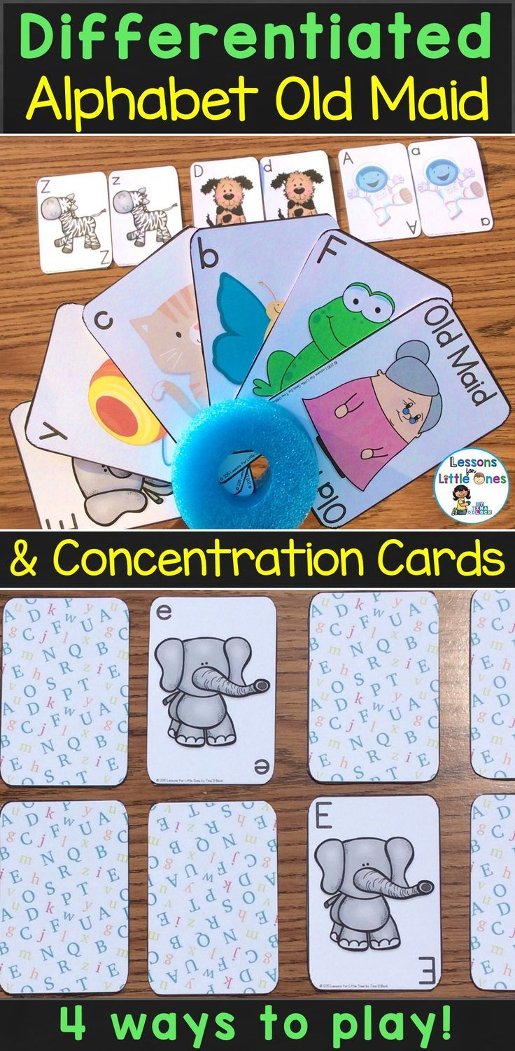 Students practice letter recognition and matching uppercase and lowercase letters while playing 2 favorite card games - Old Maid and Concentration. 4 ways to play each card game for a total of 8 differentiated games.