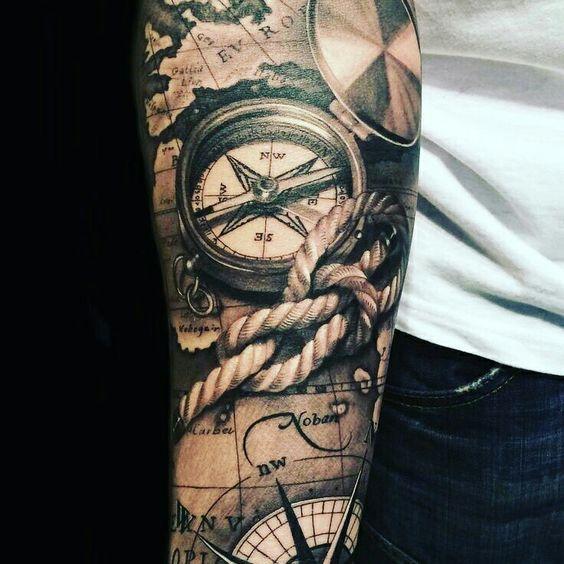23 Große Kompass Tätowierung Ideen Für Männer | Unterarm