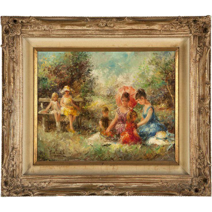 Eva Makk impressionistic oil on canvas of 6 youths enjoying a summer from therecklessnecklace on Ruby Lane