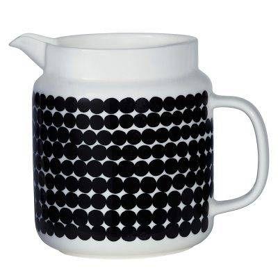 Marimekko Oiva kannu 1,25L, musta/valkoinen