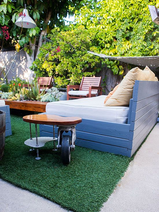No longer taboo, artificial turf can make impressive outdoor area rugs. Find high-quality artificial grass in a wide variety in textures and colors. It can easily be cut into the dimensions of your choosing and repurposed for any future outdoor spaces.