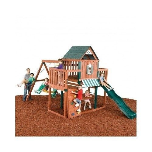 Playhouse Outdoor Wooden Swing Set Toy PlaySet with Slide Ladders Climbing Wall