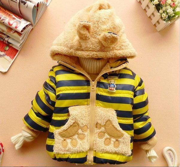 2016 Warm Baby Girls Coat Winer Cartoon Panda Boys Girls Jacket For Children Hooded Fleece Lining Cotton-Padded Kid Coat