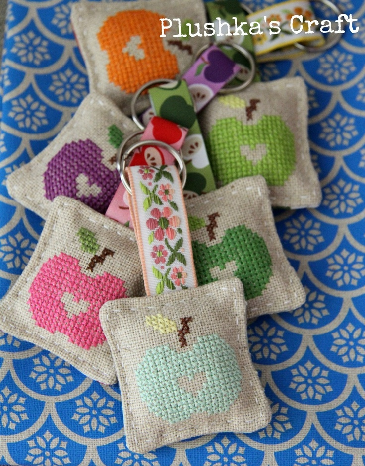 Apple keyrings by Plushka's craft - like the cut-out heart on each one.