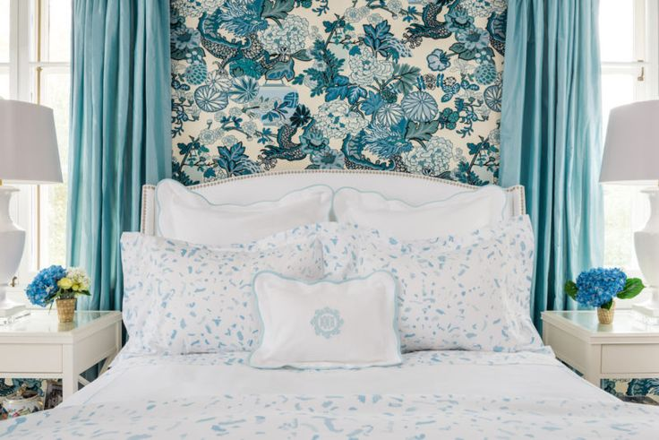 """Beach Blue """"Boone"""" Painterly Bedding from Biscuit Home // Schumacher Chiang Mai Dragon Bedroom"""