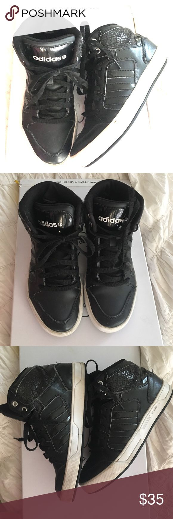 Adidas Neo Black High Top Adidas black high top sneakers Adidas Shoes Sneakers