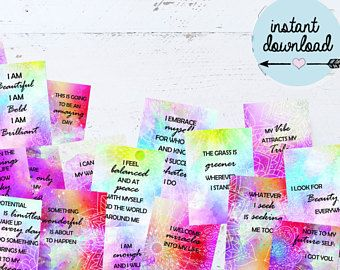 Affirmation Cards - Printable - Law of Attraction - Inspirational Cards - Instant Download
