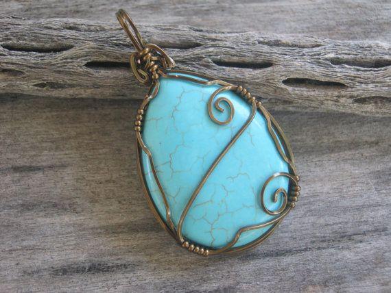 Turquoise Magnesite Swirl Pendant Antiqued by Abundantearthworks, $32.00