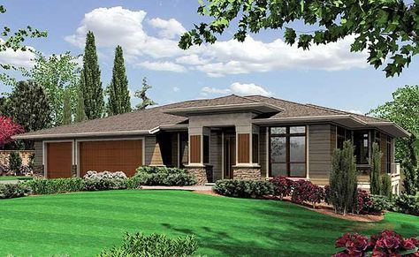 Modern Prairie-Style Home Plan - 6966AM | Contemporary, Northwest, Prairie, Luxury, Photo Gallery, Premium Collection, 1st Floor Master Suite, CAD Available, Den-Office-Library-Study, PDF, Sloping Lot | Architectural Designs