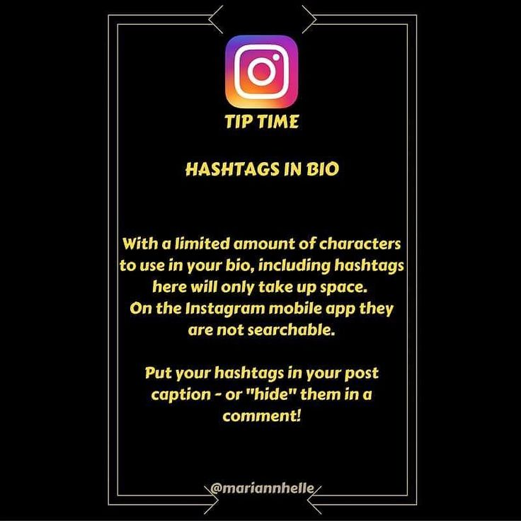 Tip time: Hashtags in bio  NO! The few (150) characters available in your bio should not be wasted with hashtags  On the Instagram mobile app they're not clickable  Instead - put them in the post caption or in the first comment of your post   Want to learn more about building your business online? JOIN the Networking Success Tips FB-community! I look forward to seeing you there   @mariannhelle  - LINK IN BIO! ----------------------------------