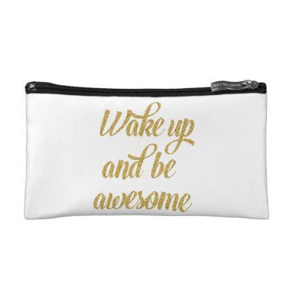 Gold Sparkle Happy Quote   Small Cosmetic Bag - glitter glamour brilliance sparkle design idea diy elegant