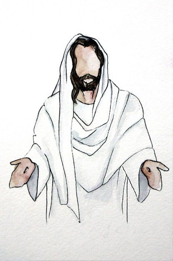 This Is A Beautiful Original Watercolor Rendition Of Christ With
