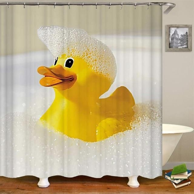 Kids Shower Curtain Cute Rubber Duck Print Polyester Fabric Kids Shower Curtain Duck Shower Curtain Cool Shower Curtains