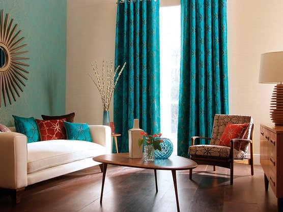 Teal accent wall w teal curtains on white wall - 53 Best Colors: Teal + Orange Images On Pinterest Colors, Home